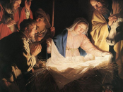 Manger scene of Jesus' in the stable