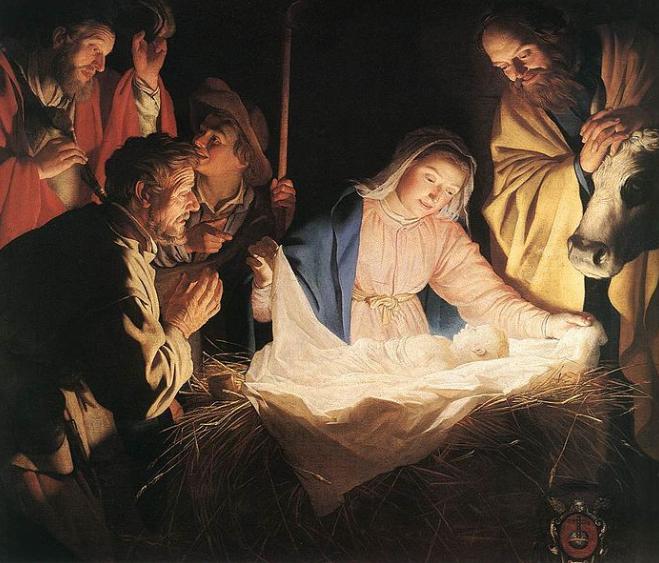 Manger scene of Jesus' in the stable