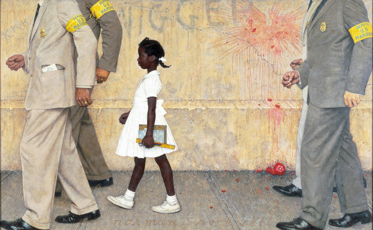 Ruby Bridges being escorted to school by four white marshalls.