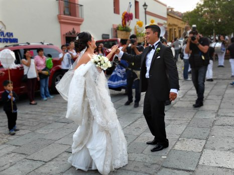 The Bride and Groom Dancing in the Street