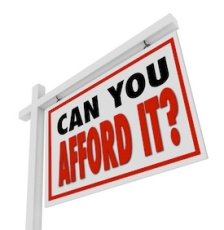"Picture of a ""For Sale"" type sign that says, ""Can you afford it?"""