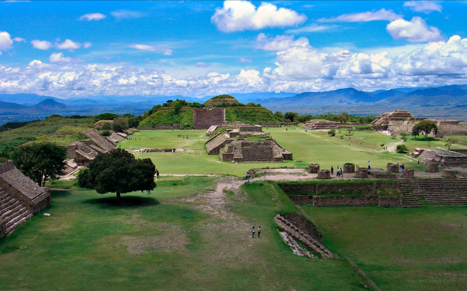 A view from on high above Monte Albán, one of the major archaeological sites in Mesoamerica.
