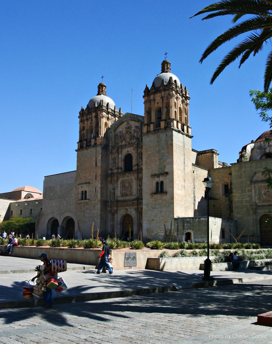 Exterior view of Santo Domingo de Guzmán church. Two towers and Spanish colonial style architecture.