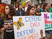 Young immigrants protesting for DACA